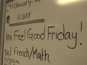 Feel Good Friday was part of our Friday Advisory schedule during my final practicum in a grade 7/8 class.