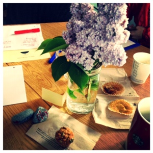 Delicious specialty muffins, gorgeous lilacs and Starbucks coffee to get this Pro D Day going!