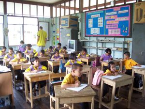 The primary students, keen as ever to learn new English vocabulary.