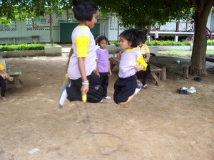 The older kids and the younger kids all played together at lunch time.  There was a true sense of community in this small village.