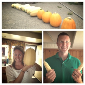 As soon as we pulled into our driveway, my husband, Joel, and I ran to the garden and checked out our squash/corn field.  We're feeling pretty good about this harvest!