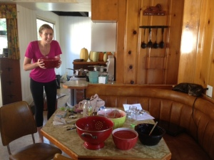 My lovely childhood friend, Nikki (who will graduate a new teacher this winter!), made a giant mess of my kitchen.  We made 34 jars of jam.