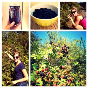 Let me present:  Karley & Nikki's Amazing Roadside Blackberry Jam.  We picked these berries roadside, right around the corner from my house and didn't even get stung by a wasp! Over the course of five hours we made 17 liters of local, naturally-sweetened jam and discussed our educational philosophies, while lesson-planning-out-loud.