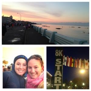 We managed to find each other before our races started! Check out how dark it was when Karley's 8k started...and check out that stunning sunrise along Dallas Road! We are thank-FULL to live in such a beautiful place.