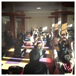A little yoga practice with my class in our cafeteria. This was a lesson extension for their Social Studies India unit (I don't teach their socials, but I DID teach the yoga class).  So good!