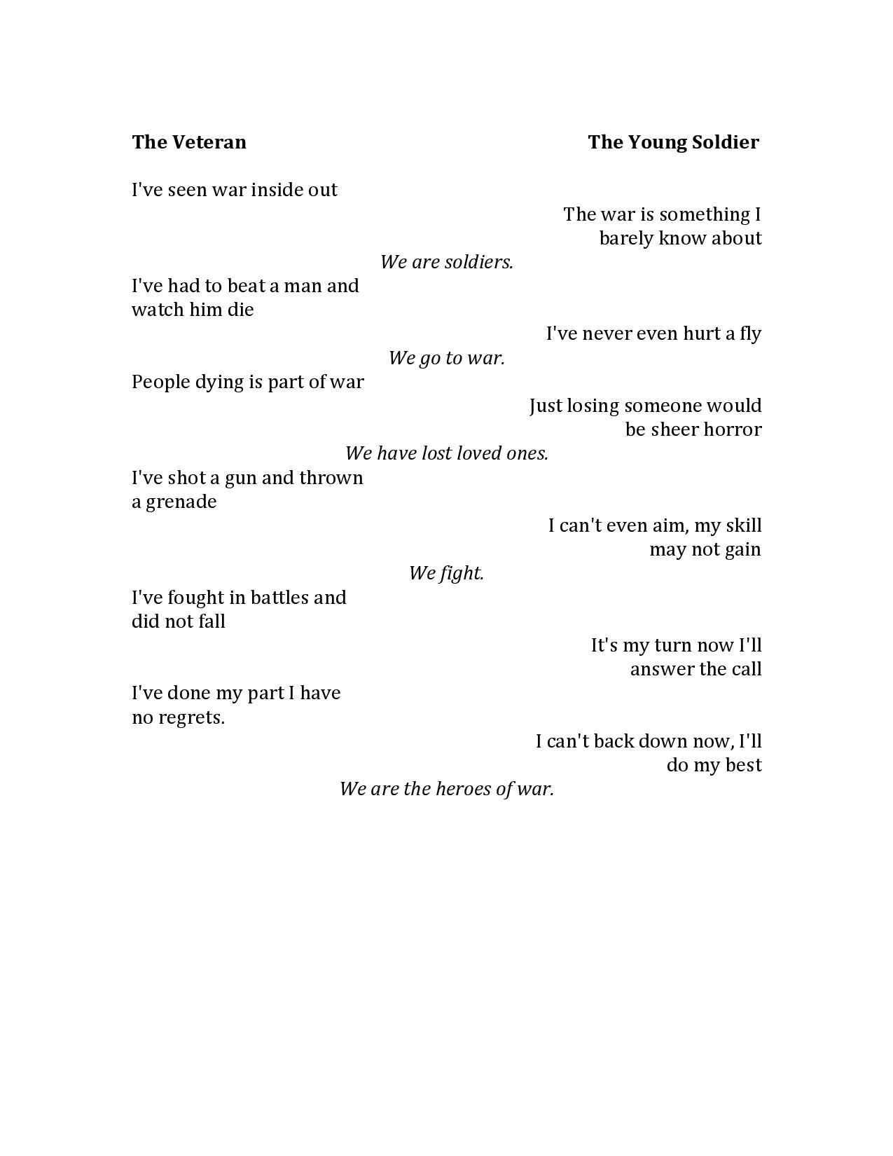 short poem on soldiers in english