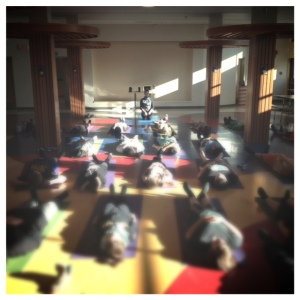 Students resting in savasana during our yoga practice.