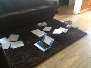 This is how our living room floor has looked for the past week or so...