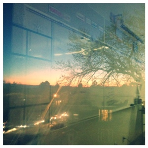 Don't mind the harsh window reflection of my classroom, but check out my gorgeous sunset view!