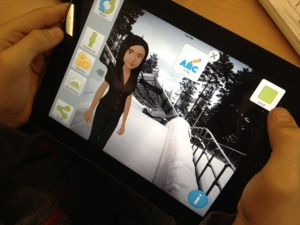 This avatar was created to be part of a bobsled team, so the student found a photo online of a bobsled track and set it as the avatar's backdrop.