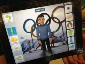 This avatar is an Olympian proudly speaking about his sport in front of the Olympic rings.  Yes, you can adjust the head size of the avatars.  Yes, some of my students' avatars have giant heads.