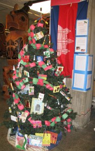 """Our glorious art-themed tree! We didn't """"win"""" the competition between other trees, but we did send a decent chunk of money to Cambodia."""