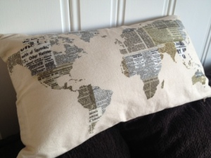 I love this pillow from Urban Barn.  A constant reminder that I also love to travel.