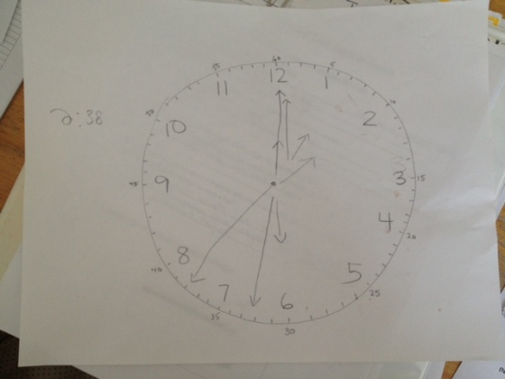 """Jacquie, the EA another teacher and I """"share"""", spent some time this week teaching one of my grade 8 students how to tell time.  New life skill - check!"""