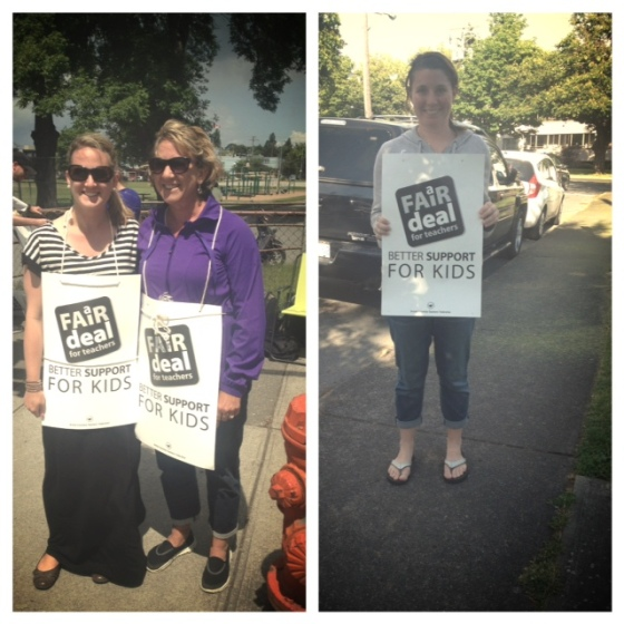 My mom has never walked a picket line in her life, but she came out today to support teachers!