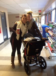 An amazing friend surprising me with Starbucks and a sweet little baby visit to celebrate my news!